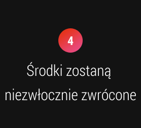 4. Środki zostaną niezwłocznie zwrócone